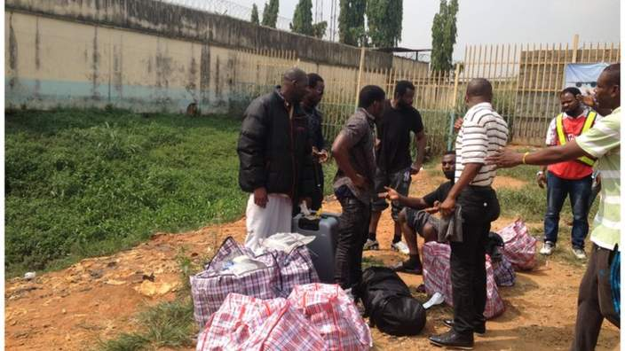Plane Carrying 500 Deported Nigerians Lands In Lagos(Photos)