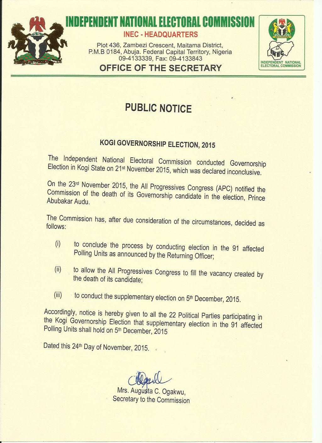 Just In: INEC Schedules Supplementary Elections In Kogi, Releases Statement (READ)
