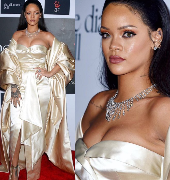 Fashion Slayerrrr! Check Out Photos Of Rihanna(And Her New Boobs), And Other Celebrities From Her 2nd Annual Diamond Ball(Must See Looks)