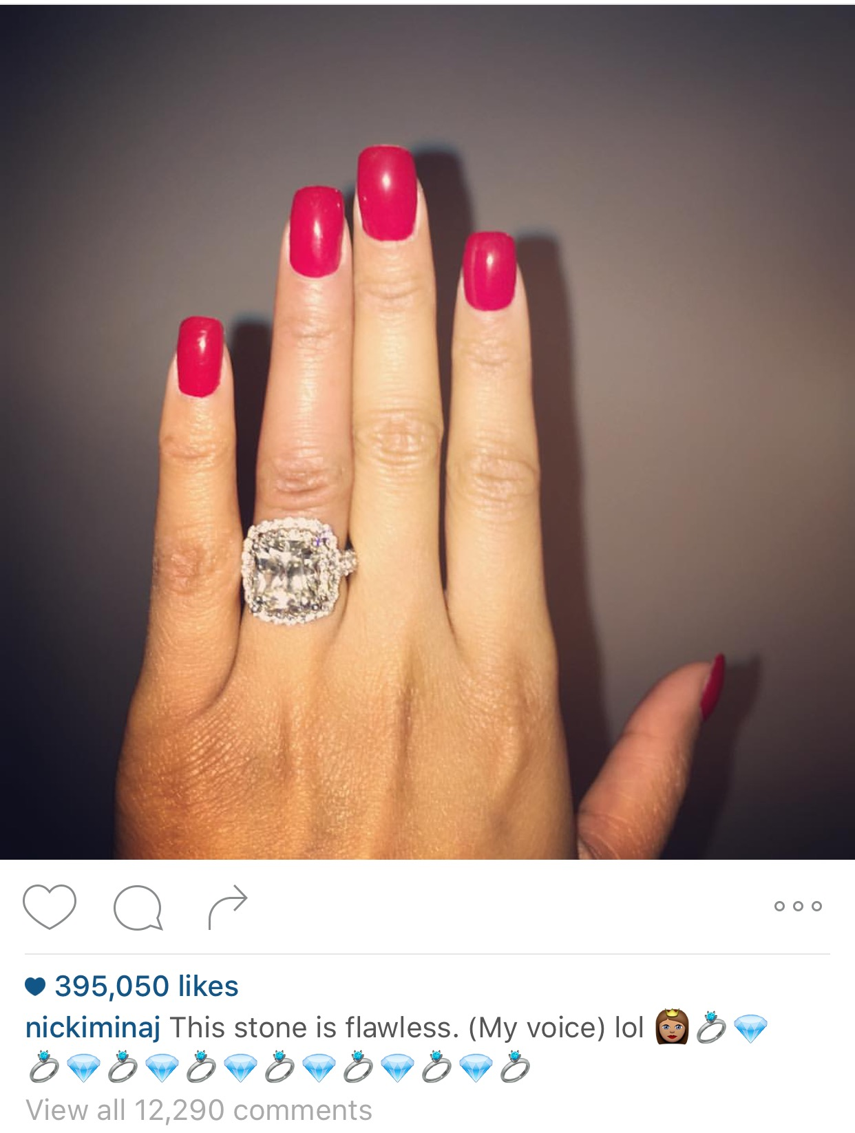 Gorgeous! Check Out The Huge Diamond Ring Meek Mill Gave Nicki Minaj For Her 33rd Birthday
