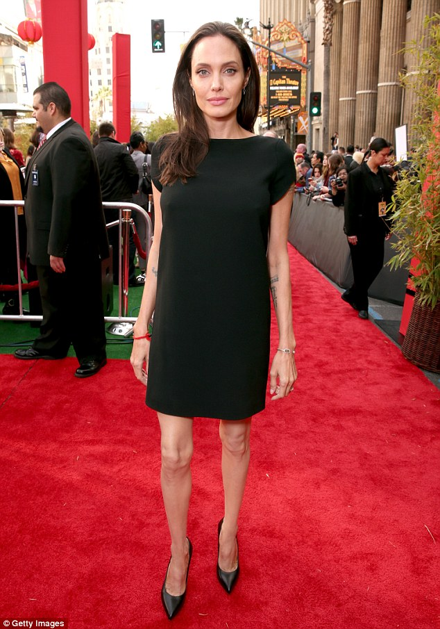 A Little Too Skinny? Actress Angelina Rocks Simple LBD For Premiere Kung Fu Panda 3