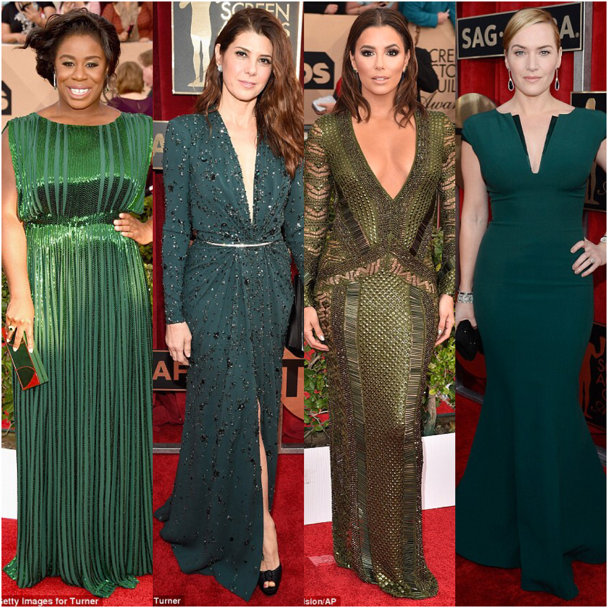 See How The Stars Wowed In Green, Black And Red At The 2016 Sag Awards + Full List Of Winners