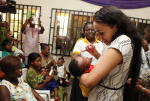 Photo Speak: Edo State First Lady Iara Oshiomole And Her Husband Flag Off Immunisation Day In Benin