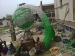 WOW! See The Innovative Piece Of Art This Yaba Tech Graduate Created With Plastic Bottles And Cans