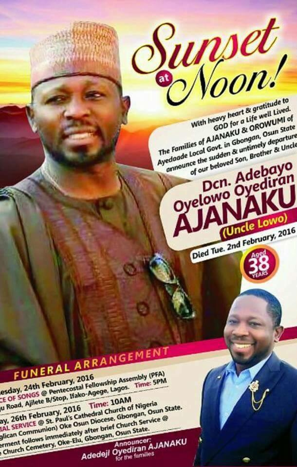 Obituary Of Man Murdered By His Lawyer Wife In Ibadan