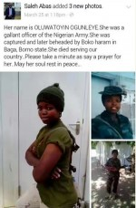 See Photos Of Female Soldier Allegedly Captured And Beheaded By Bokoharam