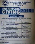 See Redeemed Christian Church Of God Sacrificial Giving Form That Is Causing Controversy Online
