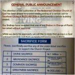 'Sacrificial Giving Form' : RCCG Headquarters Reacts