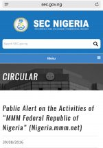 """Alert On The Activities of """"MMM Federal Republic of Nigeria"""" (Nigeria.mmm.net) From SEC"""