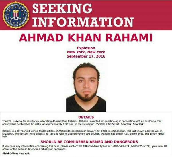 New York Bombings: Suspect Identified As Ahmad Khan Rahami Declared Wanted By The FBI
