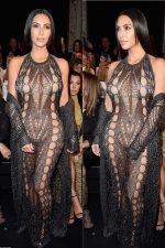 Is This Her Most Risquè Look Yet? Kim Kardashian Leaves Nothing To Imagination In Mesh Catsuit As She Attends Balmain SS17 Show During PFW