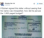 Twitter User Calls Out President Buhari For Signing Letter That Had His Name Misspelled