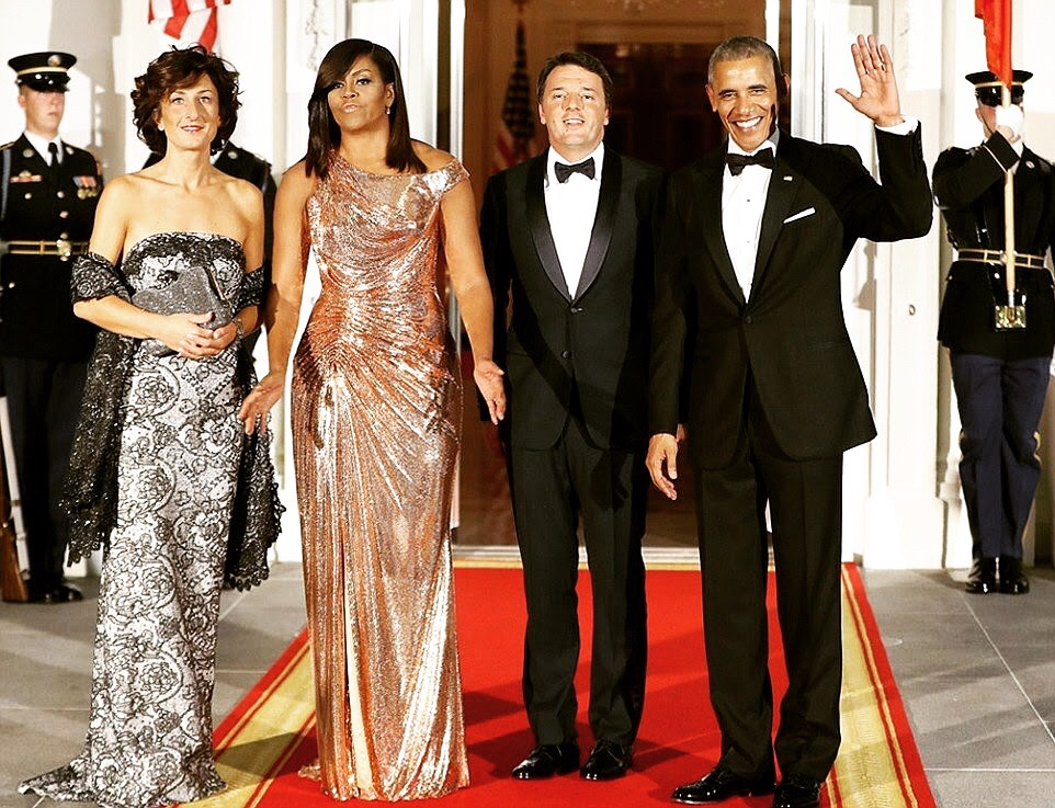 Michelle Obama Stuns In Atelier Versace Rosegold Chainmail Dress At President Barrack Obama's Last State Dinner