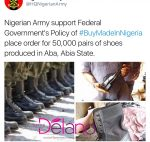 #BuyMadeInNigeria: Nigerian Army Orders 50,000Pairs Of Made In Aba Boots For Soldiers