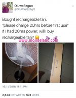 Man BuysRechargeable Fan, This Happens(Tweet Of The Day)