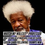 """Watch My WOLEXIT!""""-Professor Wole Soyinka Maintains Stand On Tearing Green Card Following Trump's Win"""