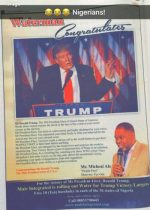 Famzing At It's Peak! Nigerian Man Takes One Day News Paper Advert To Congratulate Trump