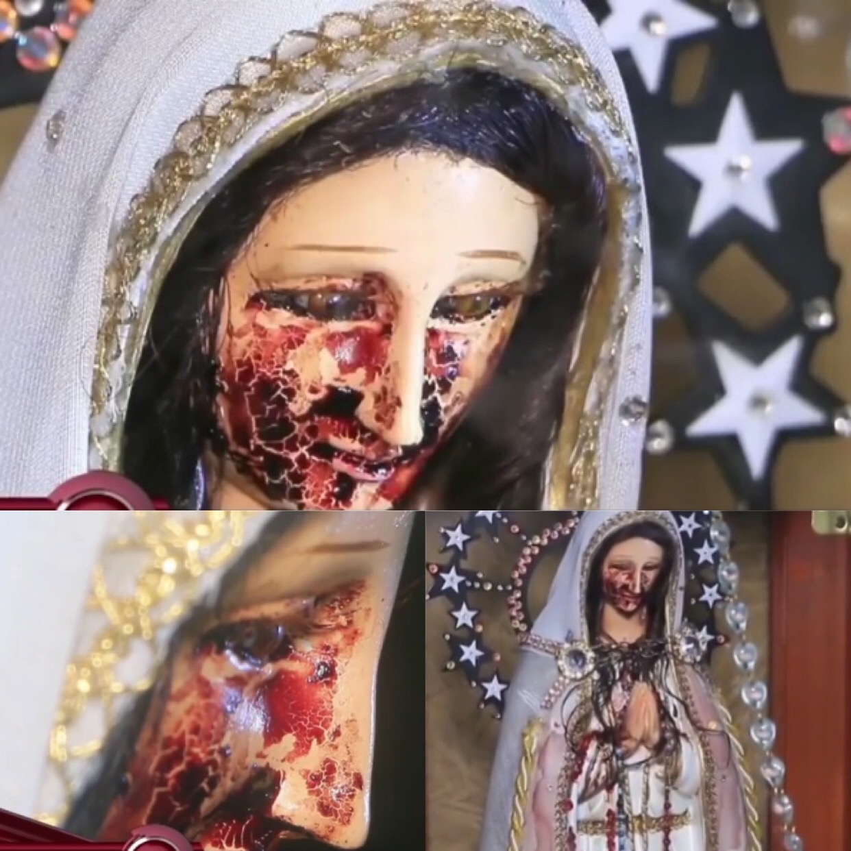 Shock As Blood Mysteriously Gushes Out Of Eye Of Virgin Mary's Statue (Photos)