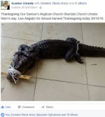 NA WA! Member Of Anglican Church Brings Live Alligator For Thanksgiving Service (PHOTO INSIDE)