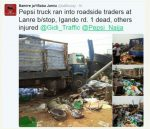 Pepsi Truck Runs Off-road Into Side Hawkers, One Killed In Incident (PHOTOS INSIDE)