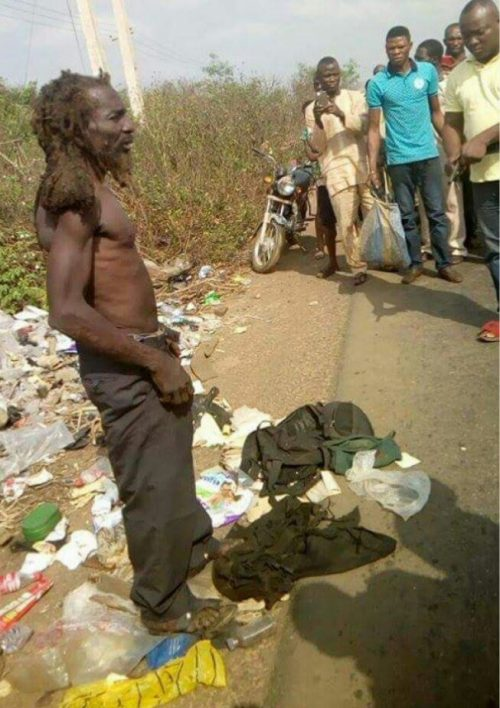 OMG!!! False Mad Man Who Sells Used Baby Diapers To Ritualists Has Been Apprehended In Ogun State (PHOTOS INSIDE)