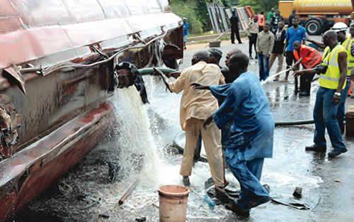 TRAGEDY In Ogun As Petrol Tanker Falls Over