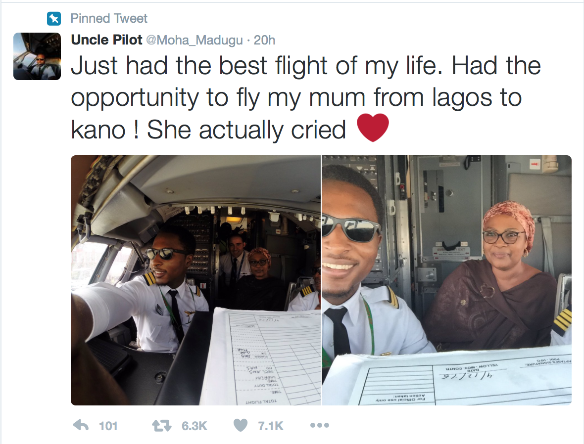 Viral Tweet: See Heartwarming Moment Nigerian Pilot Flew His Mum For The First Time