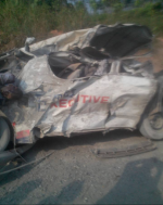 Dangote Truck Crushes Commercial Bus On Lagos-Benin Expressway [GRAPHIC]