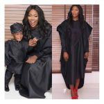Too Cute! Tiwa Savage And Son Jamil Cordinate In Black Agbada For Sunny At 70 Concert