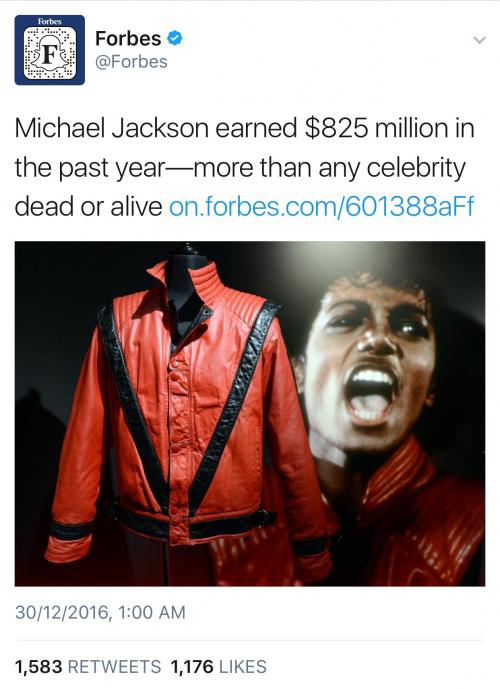 See The Gargantuan Amount Micheal Jackson Made In 2016!