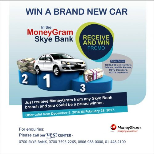 Skye Bank Rewards Customers In The MoneyGram 'Receive n Win' Promo