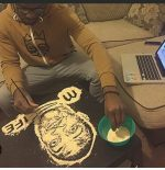 WOW! Talented Nigerian Draws Don Jazzy Using Only Garri Grains [Photos]