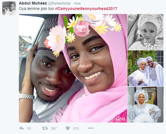 This #CarryYourWifeOnYourHead2017 Trend on Twitter Is All Shades Of  Romantic! [Tweets]