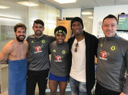 Photo: Didier Drogba Returns To Stamford Bridge, Meets Chelsea Players