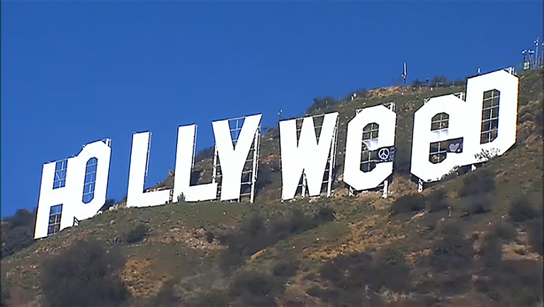 HOLLYWEED! Prankster Alters Iconic Hollywood Sign