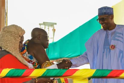 Photos: President Buhari Celebrates Nana Akufo Addo At Inauguration Ceremony In Ghana