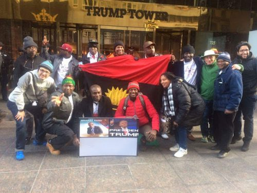 Biafra Members Storm Trump Towers In Newyork To  Show Support For Donald Trump