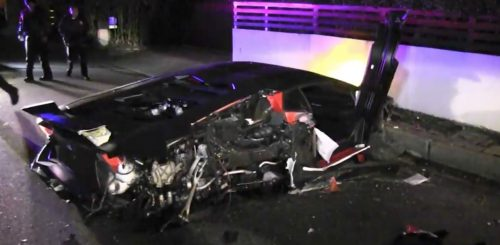 Chris Brown's Lamborghini Aventador Worth $500k Completely Destroyed In Ghastly Crash [Photos]