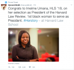 Nigerian Imelme Umana Emerges First Black Woman To Serve As President Of 130-year-old Harvard Law Review