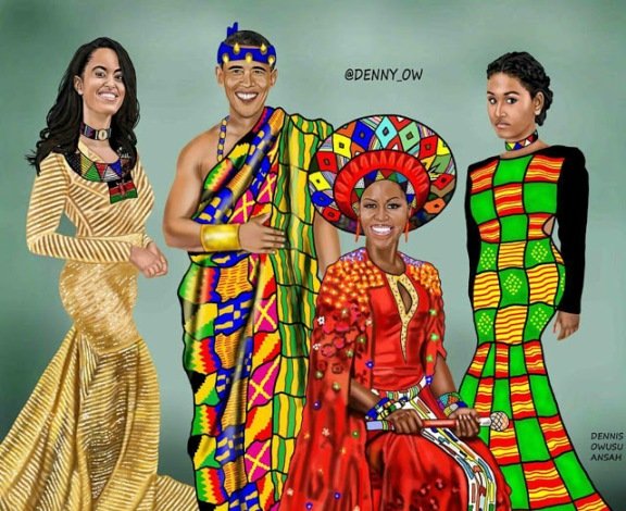 Check Out This Amazing Portrait By A Nigerian Artiste Depicting Obama & Family As Africans