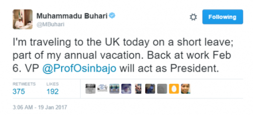 See Reactions Of Nigerians Over Buhari's Decision To Go On Vacation