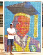 UNIBEN Student Uses 6000+ Bottle Covers To Design 11ft Potrait Of Vice Chancellor