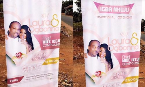 Photo: Laura Ikeji And Ogbonna's Wedding Banners Spotted In Nkwerre, Imo State