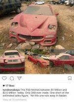See Photos Of $1 Million Ferrari F50 Abandoned And Rotting Away In Ibadan