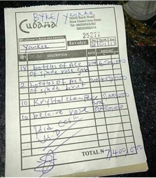 What Recession? See Receipt Of Drinks Consumed In Owerri Club Worth N7.4 Million And Was Paid For In CASH