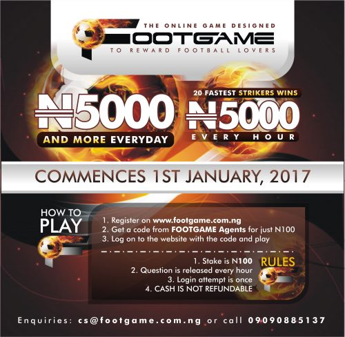 Win N5,000 Per Hour In Footgame Online Reward For Football Lovers [DETAILS]