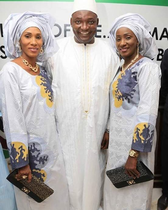 Newly Sworn In President Of Gambia, Adamma Barrow And His Two First Ladies