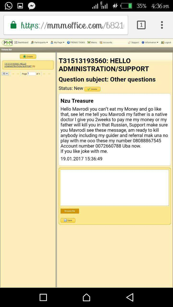 """Pay My Money In Two Weeks Or I Will Kill You In That Russia"" -Angry MMM User Who Says Father Is A Native Doctor Threatens"