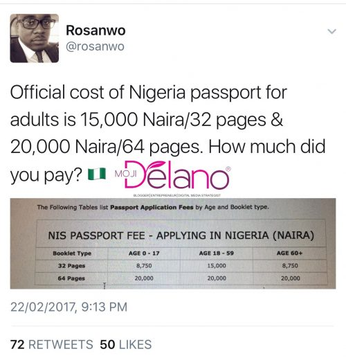 How Much Did You Pay? These Are The Official Rates For The Nigerian Passport