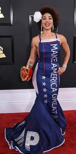 #GrammyAwards:  This Controversial 'Trump' Dress  Worn By Singer, Joy Villa That's Got The World Boiling